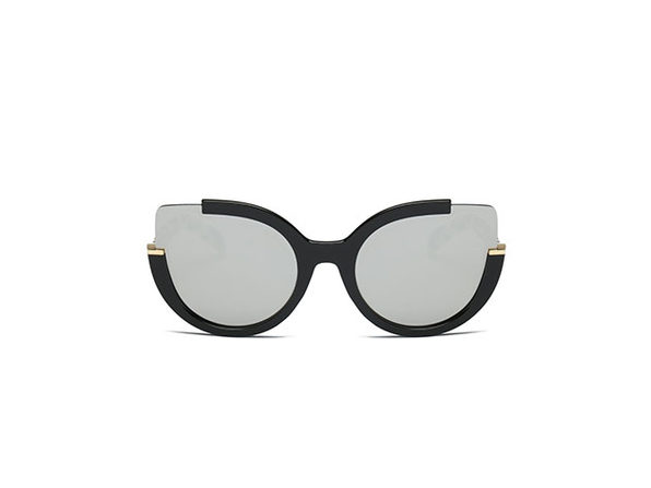 Lauryn Half-Frame Round Cat Eye Sunglasses (Gray)