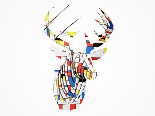 Modern Art Print Deer Head (Grid Pattern)
