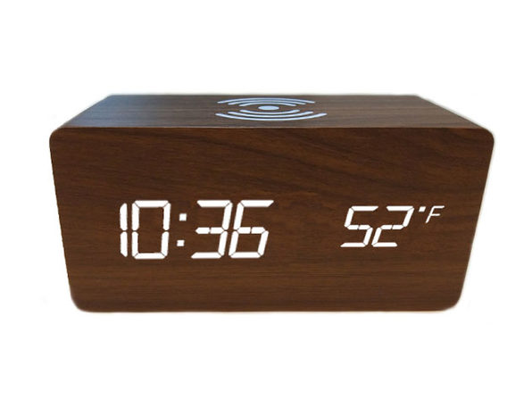 Qi Charging LED Wooden Alarm Clock (Brown)