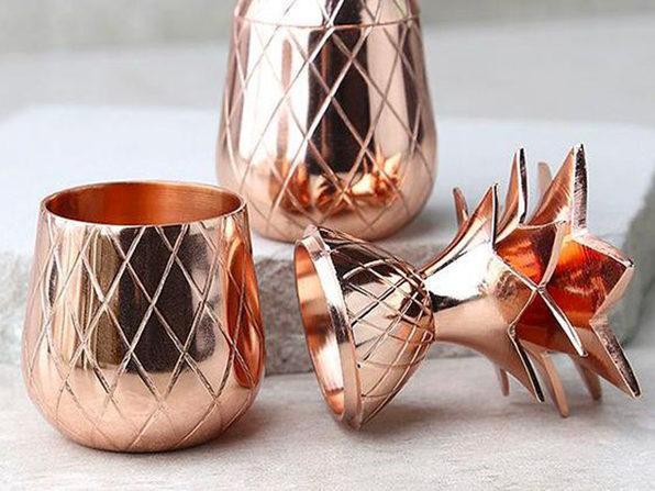 W&P Copper Pineapple Tumbler & Shot Glass Bundle