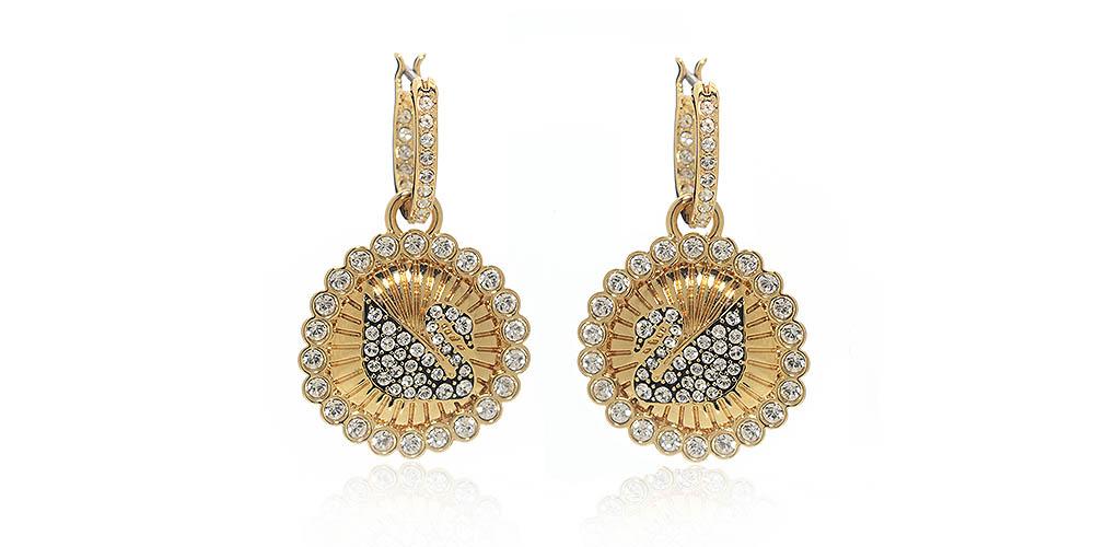 Swarovski Vintage Swan Goldtone Crystal Earrings