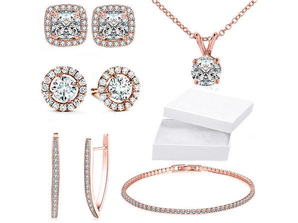 10CT 5-Piece Jewelry Set with Swarovski® Crystals (Rose Gold)