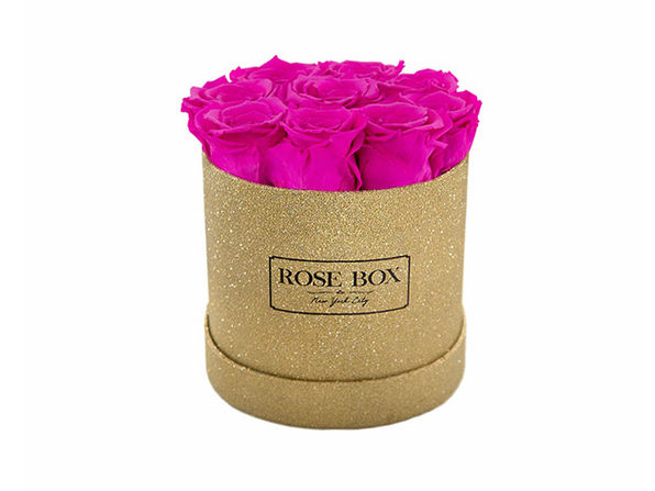 Small Gold Box with Neon Pink Roses