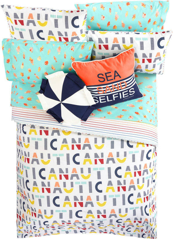Nautica Kids Reversible Nautica Letters 100% Fine Imported Cotton Comforter Set - Full