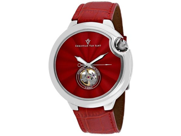 Christian Van Sant Men's Cyclone Automatic Red Dial Watch - CV0142