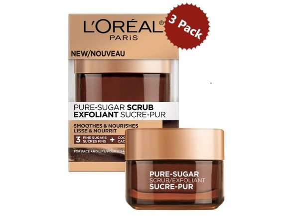 L'Oréal Paris Pure Sugar Face and Lip Scrub with Coco 3-Pack