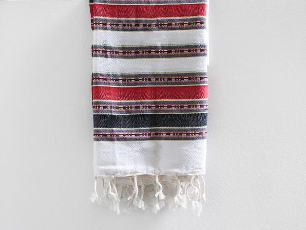 Turkish Fouta Towel (White/Red)