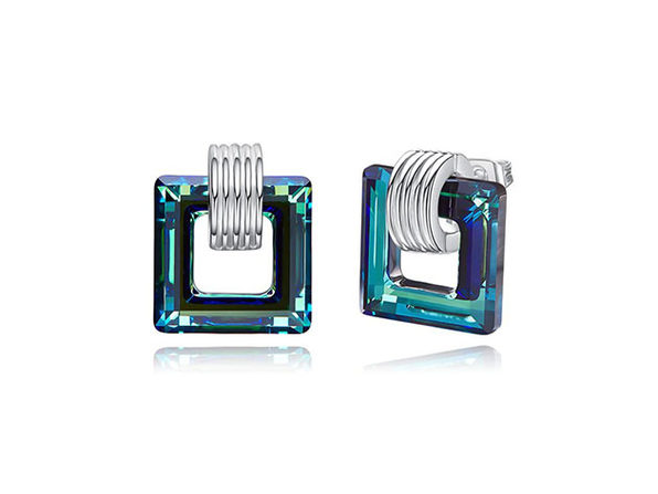 Square Stud Earring with Aurora Borealis Swarovski Elements