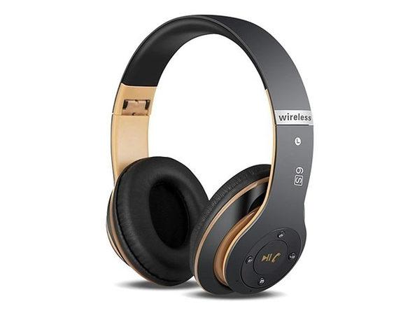 S6 Wireless Bluetooth Headphones (Black/Gold)