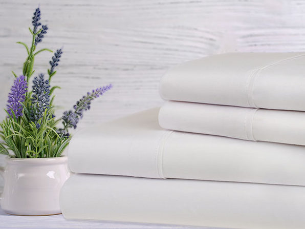 Bamboo 4-Piece Lavender Scented Bed Sheets - Queen - White - Product Image