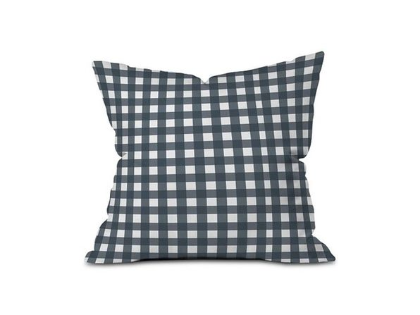 Deny Designs Check Design Outdoor Throw Pillow, Polyester Fabric/Polyester Fill, Blue