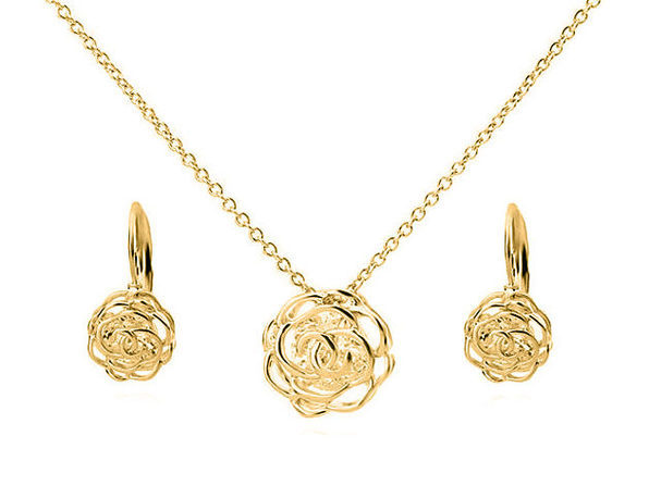 Rose is a Rose Pendant and Earring Set - Gold - Product Image