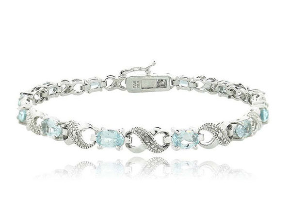 Genuine Sapphire and Diamond Accent Tennis Bracelet - Product Image