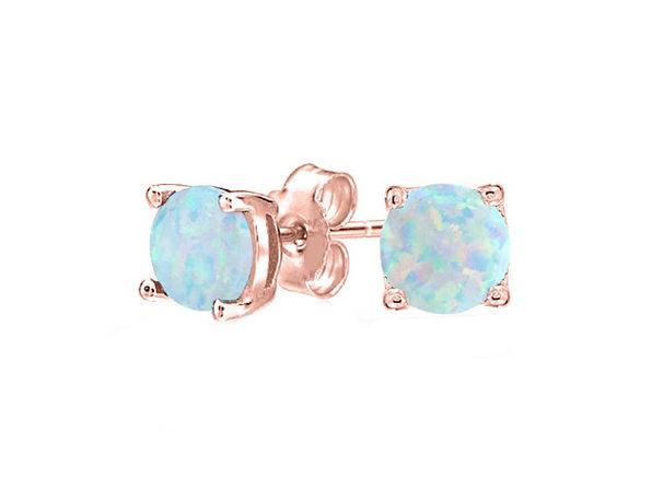 Oceanic Opal-like Stud Earrings (Rose Gold)