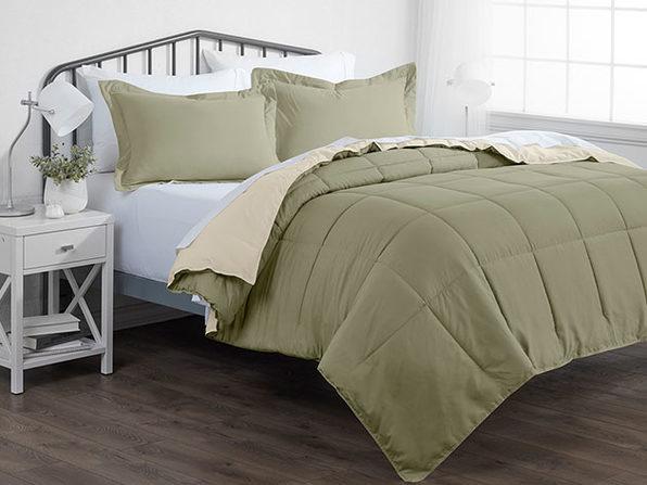 Down Alternative Reversible Comforter Set (Sage & Ivory)