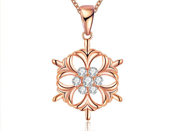 Circular Snowflake Necklace with White Swarovski Elements (Rose Gold)