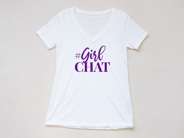 The Real #GirlChat White V-Neck T-Shirt (XL)