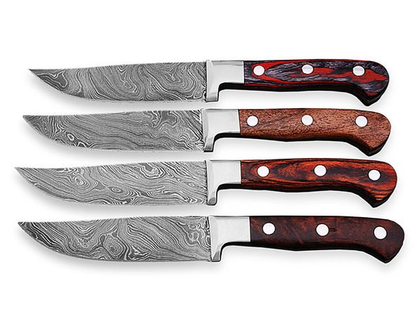 Damascus Steak Knives: Set of 4