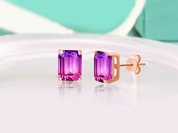 Swarovski Emerald Cut Stud Earrings Grape + Bubblegum - Product Image