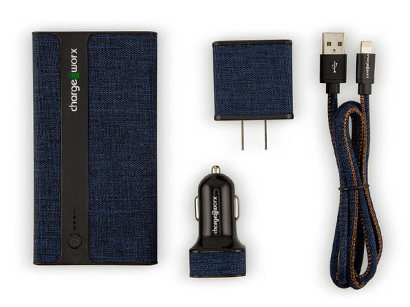 ChargeWorx Sleek Canvas Complete Charging Collection MFi Lightning Blue - Product Image