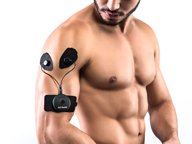 A person wearing a fitness device on their arm