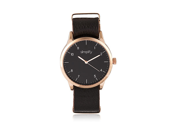 Simplify 5600 Series Leather Band Watch (Dark Brown/Rose Gold)