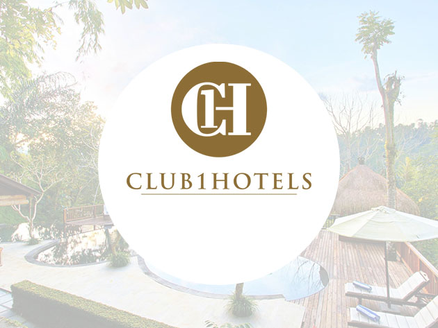 A logo for Club1Hotels, with a faded background image of a pool and umbrellas