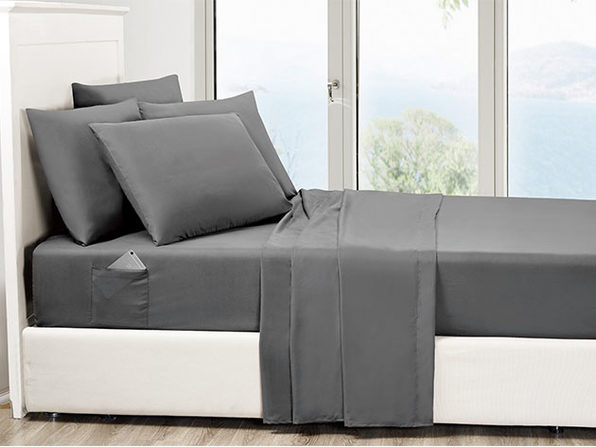 6-Piece Grey Ultra Soft Bed Sheet Set with Side Pockets Queen - Product Image