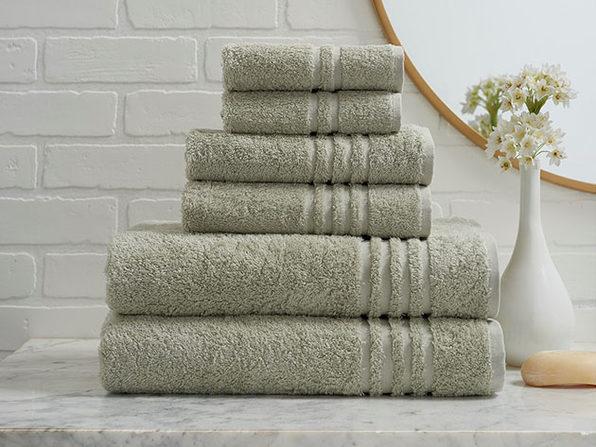 Turkish Cotton 6-Piece Ensemble Towel Set (Sage)