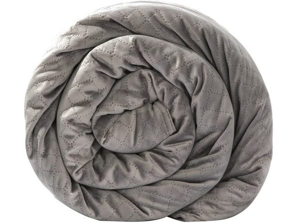 BlanQuil Quilted 15lb Weighted Therapy Blanket with Removable Cover, 47 Inches x 74 Inches, Grey
