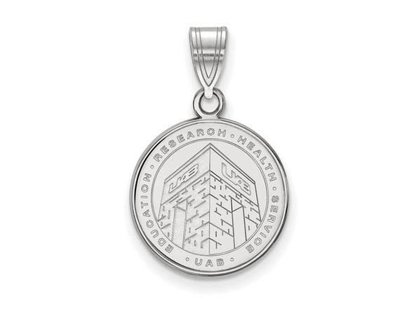 of Alabama at Birmingham Medium Crest Necklace Black Bow Jewelry NCAA Sterling Silver U