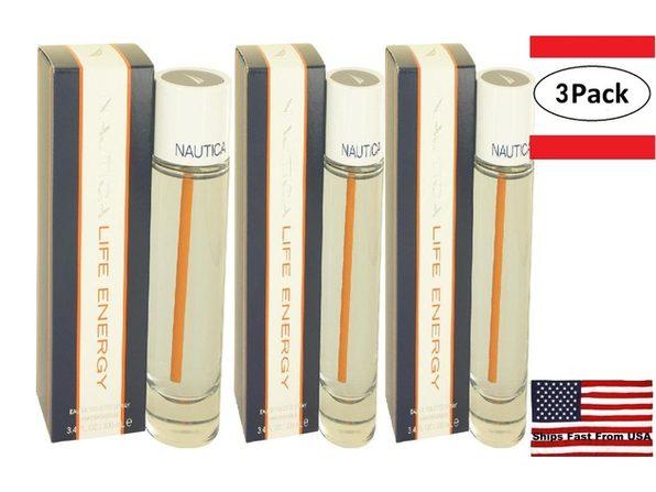3 Pack Nautica Life Energy by Nautica Eau De Toilette Spray 3.4 oz for Men
