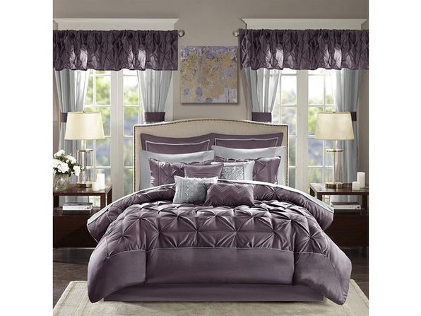Madison Park Essentials Joella 24 Piece Comforter Queen Plum