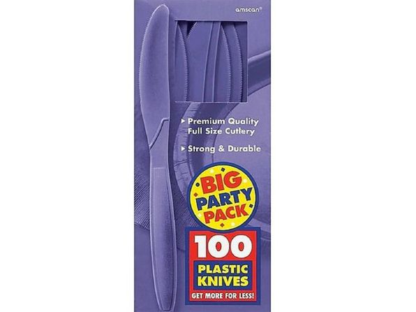 Party Favors - Big Party Pack - New Purple - Plastic Knives - 100ct