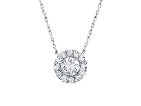 Essentials 1.05CT Lab-Grown Diamond Halo Necklace in 10K White Gold