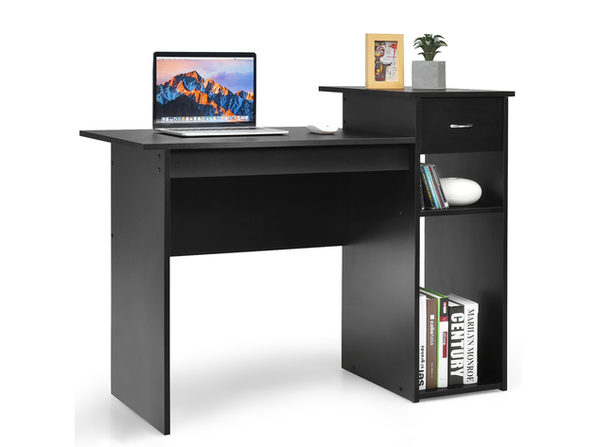 Costway Computer Desk PC Laptop Table w/ Drawer and Shelf Home Office Black - Product Image