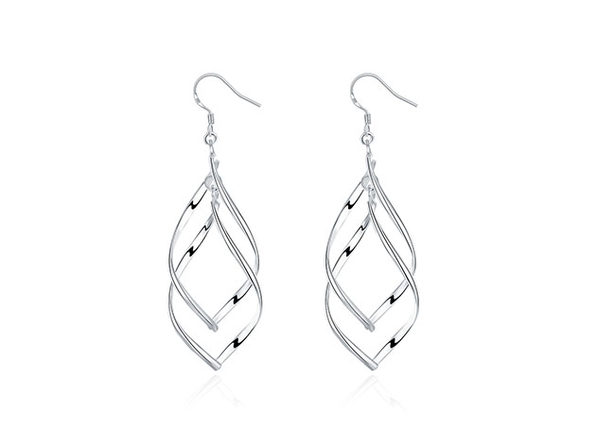 Spiral Twist Drop Earrings (Silver)