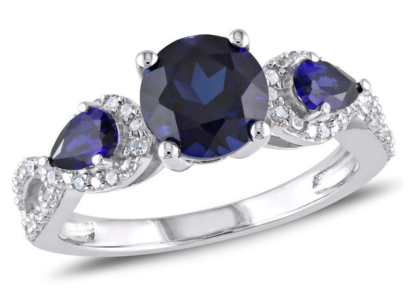 2.50 Carat (ctw) Lab Created Blue Sapphire Ring in Sterling Silver with Accent Diamonds - 5
