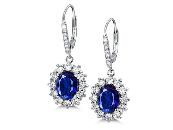 Sapphire Halo Leverback Earrings in 18K White Gold Plating
