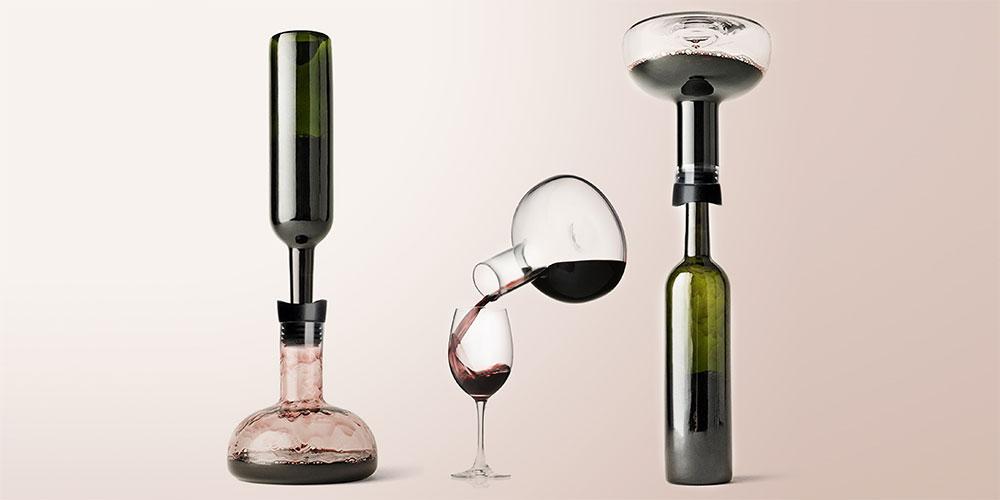 Eravino Handblown Crystal Wine Carafe + Holder Lid