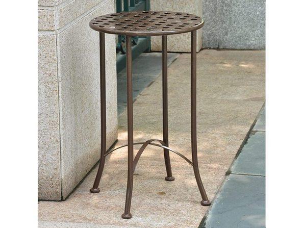 "International Caravan Mandalay 16"" Pure Wrought Iron Table in Bronze Finish (Like New, Damaged Retail Box) - Product Image"