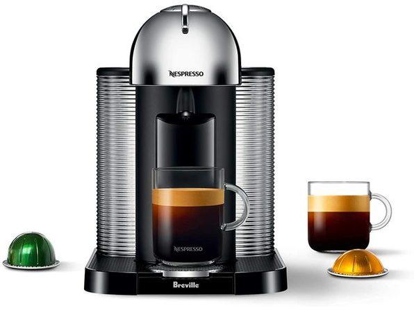 Breville Nespresso Vertuo Automatic Eject Coffee and Espresso Maker Machine, Chrome