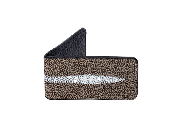 Andre Giroud Exotic Stingray Money Clip (Large/Taupe)