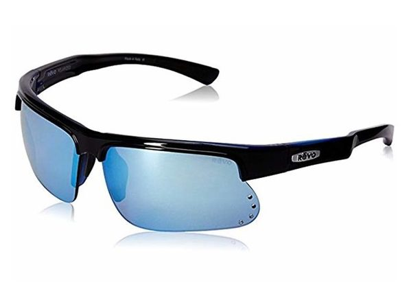 Revo Cusp S RE 1025 15 BL Polarized Rectangular Sunglasses, Black/Blue 67 mm - Black