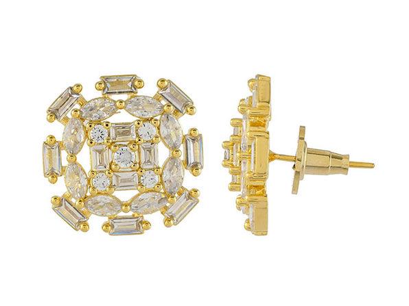 Cubic Zirconia Oval Baguette Stud Earrings (Gold)
