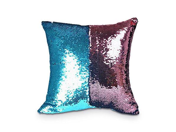 Sequin Pillow Cover-Pink/Aqua - Product Image