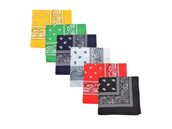 Pack of 6 Paisley 100% Cotton Bandanas Novelty Headwraps - 22 inches - Neon Green