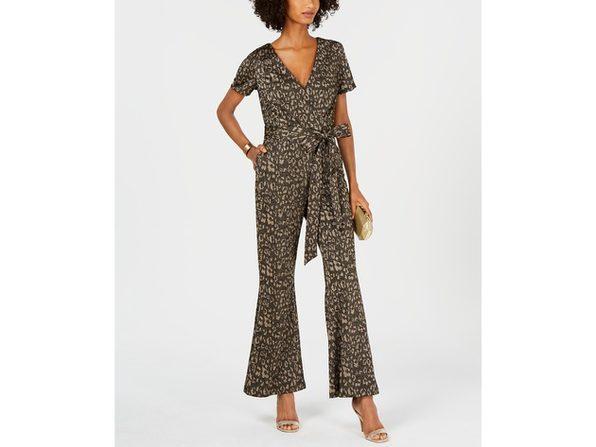 "Ivanka Trump Women's Cheetah-Print Belted Jumpsuit Grey Size 6"""