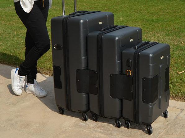 Tach Tuff Attachable Hard Luggage Set (3-Piece/Grey)