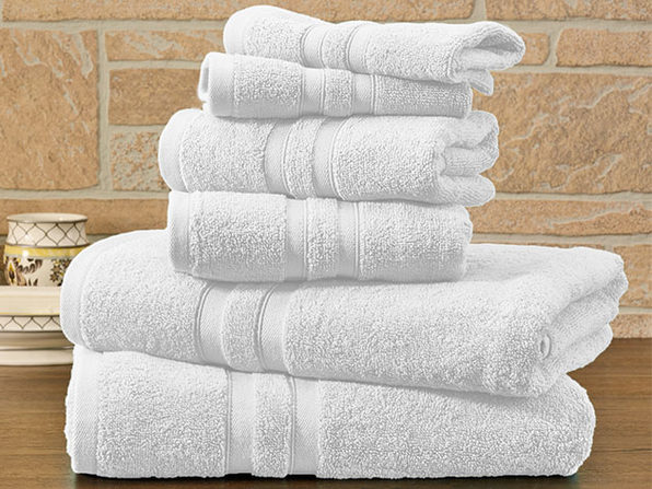 6-Piece Bibb Home Cotton Towel Set (White) - Product Image
